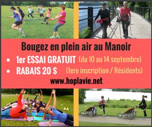 Bougez en plein air au Manoir | 1er essai gratuit | www.hoplavie.net